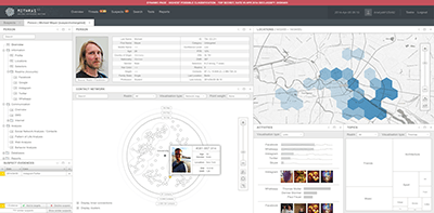 Interface design and data visualizations of a fictional surveillance software